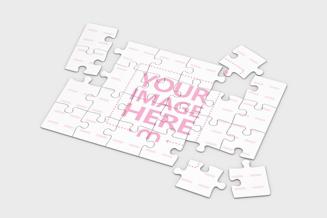 3D Jigsaw Puzzle Mockup 24 pieces (10x7in)