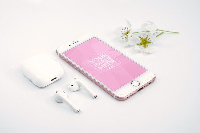 iPhone and Airpods Scene with Flowers Mockup preview image