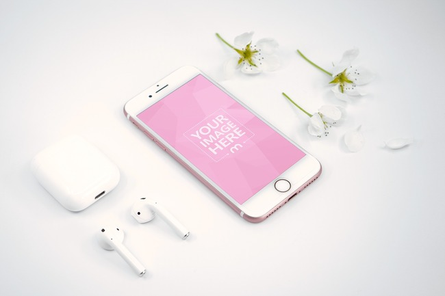 iPhone and Airpods Next to Flowers Mockup preview image