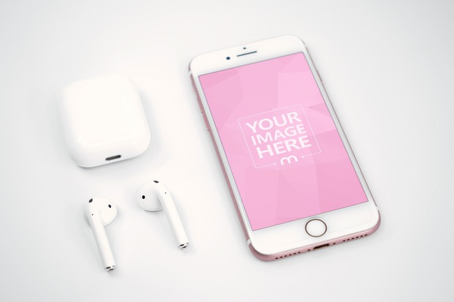 iPhone and Airpods on White Background Mockup preview image