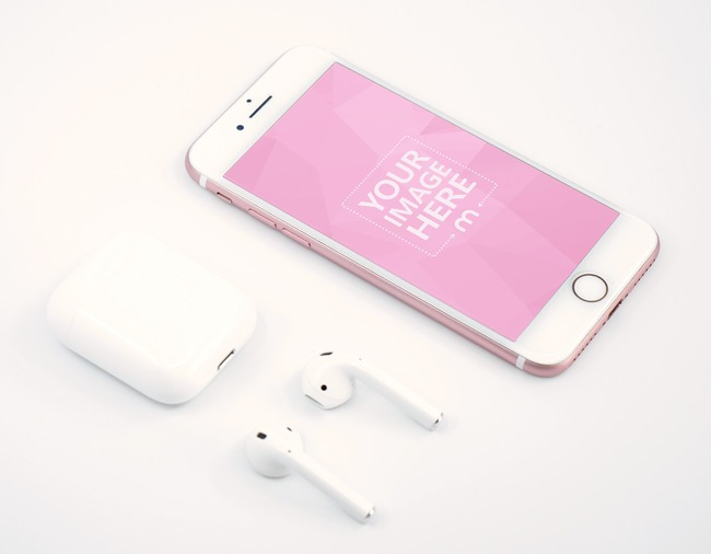 iPhone Next to Airpods Mockup Generator preview image