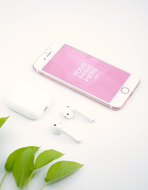 iPhone and Airpods with Decorative Leaves Mockup preview image
