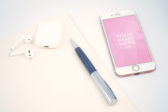 iPhone and Airpods with Pen and Notebook Mockup Generator