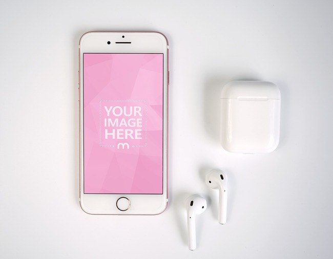 iPhone with Airpods Top View Mockup Generator preview image