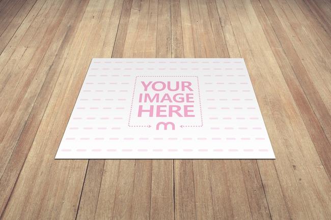 Picture on Wood Floor Mockup