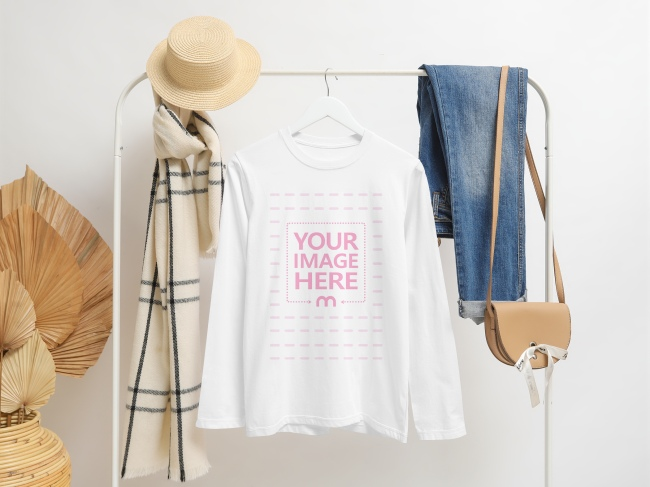 Mockup of a Long Sleeve T-Shirt Hanging on a Clothes Stand