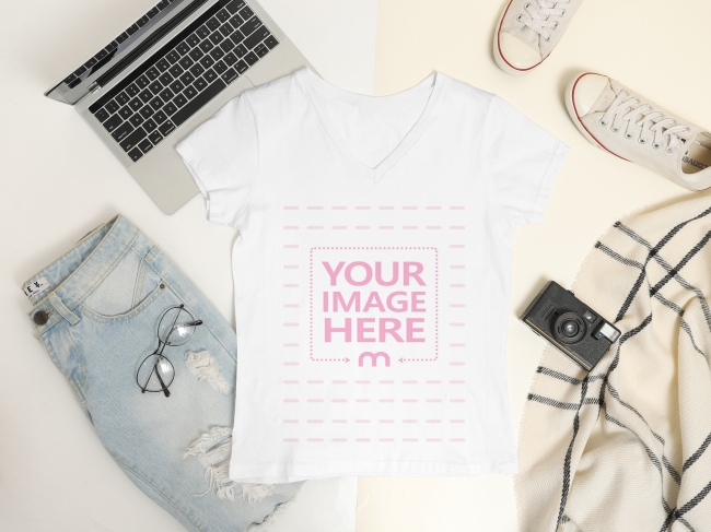 Flatlay Mockup of a Women's V-Neck preview image