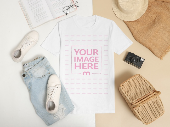 T-Shirt Mockup Laid Against Two Colored Background preview image