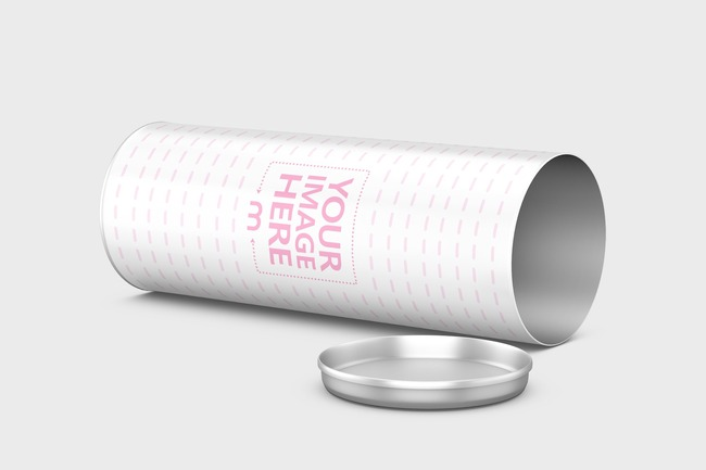 Lying Open Cylinder Container Mockup preview image