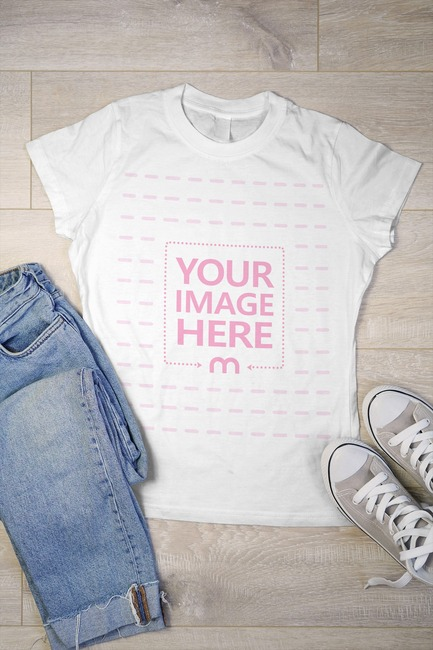 T-Shirt with Clothes on Floor Mockup Generator