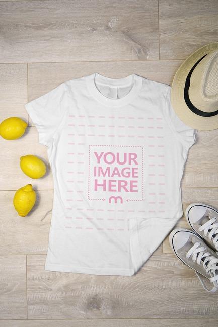 Shirt on Ground with Lemons and Clothing Mockup
