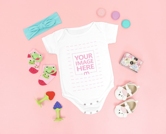 Onesie Mockup of a Baby Surrounded by Girly Accessories