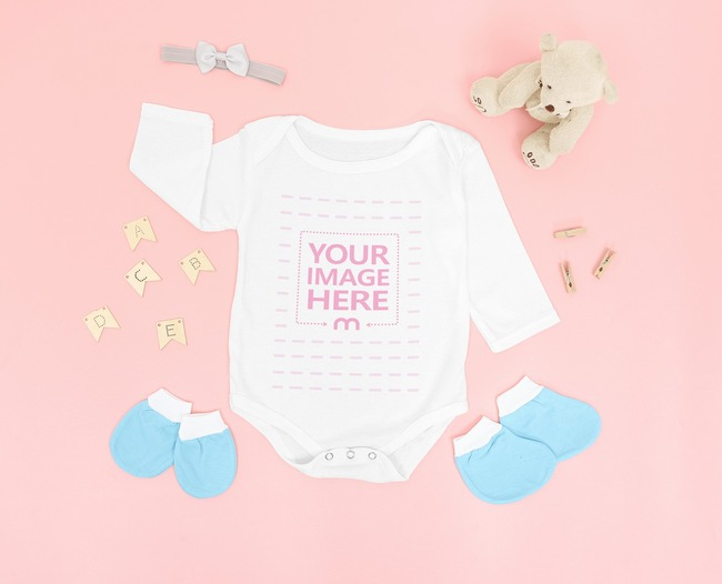 Long Sleeve Baby Bodysuit Mockup Laid Over on a Pink Background