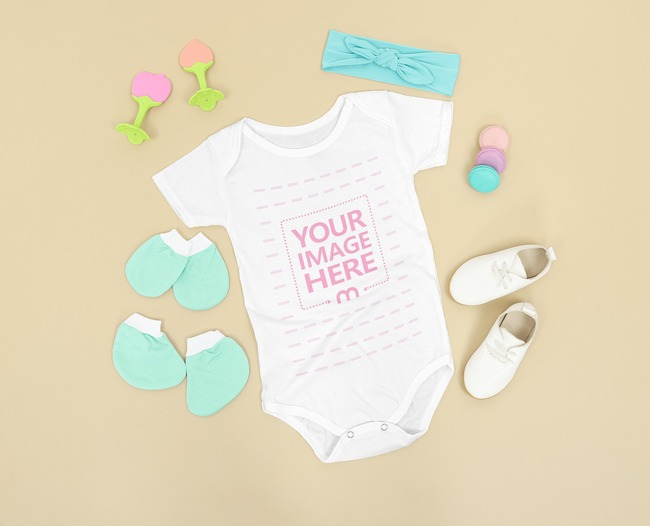 Baby Bodysuit Mockup Flat Laid on the Brown Background