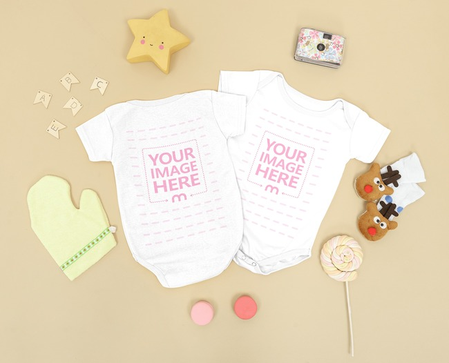Two Flatlay Baby Onesie Mockup With Back and Front Side