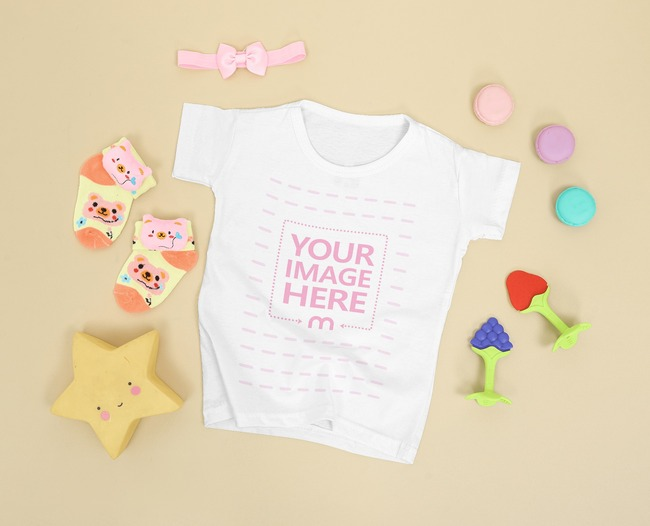 Baby Shirt Mockup Surrounded by Little Girl Accessories preview image