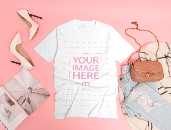 Flatlay Shirt Mockup Laid on Top of a Pink Background