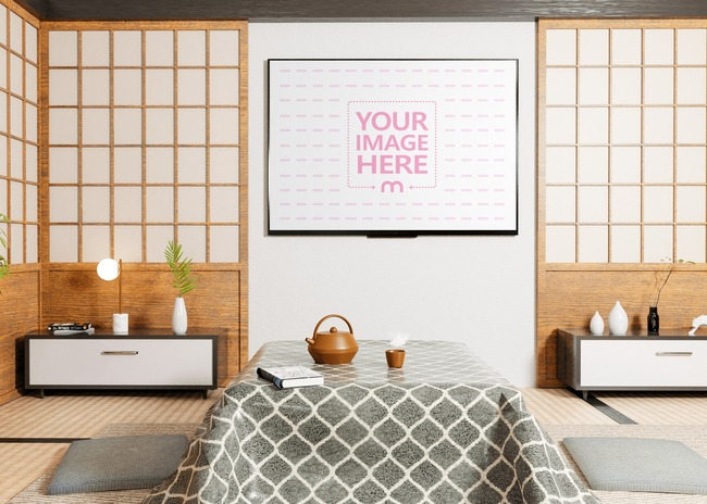 Mockup of a TV on the Wall of a Modern Asian Room