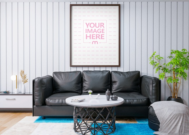 Portrait Canvas Mockup on a Living Room