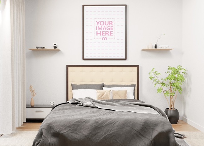 Mockup of a Portrait Canvas on Top of a Bed