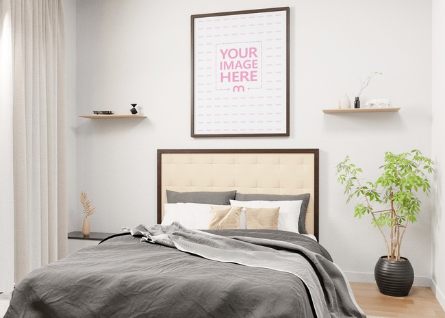 Side View of Portrait Canvas Mockup in a Room With a Bed