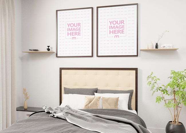 A Pair of Portrait Mockup of Canvases on a Bedroom With Side View