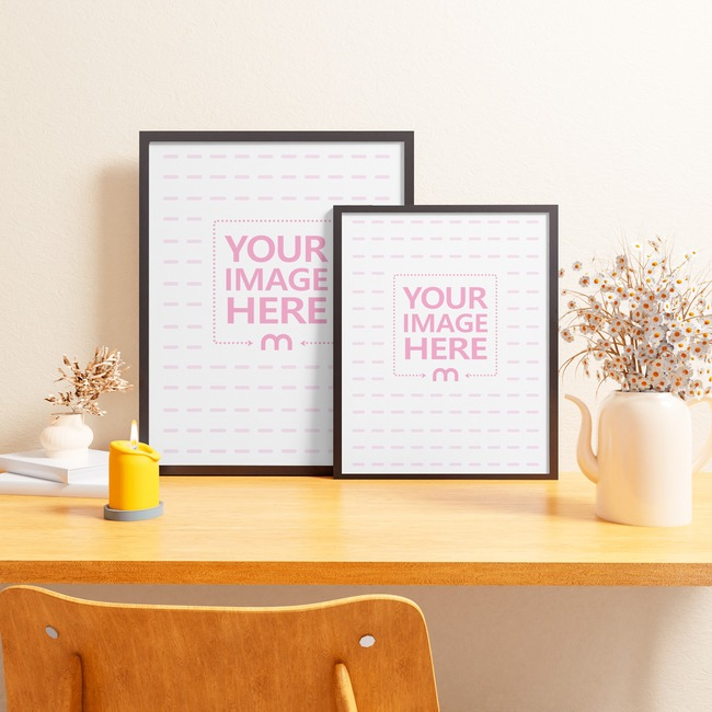 Two Portrait Canvas Mockup on a Table With Two Vases and a Candle preview image