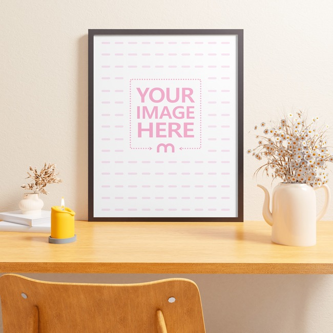 Canvas Mockup on a Desk Presentation Style With Vases and a Candle