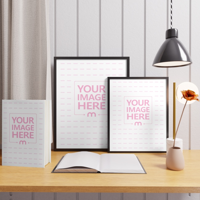Two Canvas and a Book Mockup on Top of a Desk