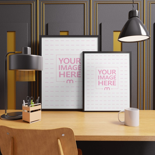 Two Canvas Mockup on Top of a Tidy Table With Two Lamps preview image