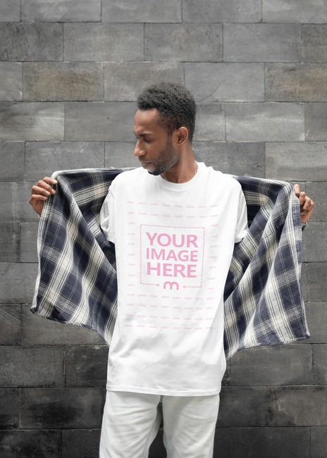 Mockup of a Shirt With a Man Posing While Looking to His Side