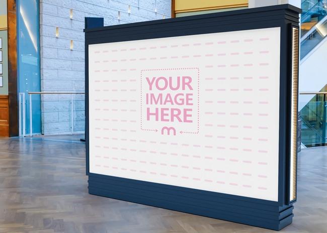 Big Horizontal Billboard Mockup on the Middle of a Floor