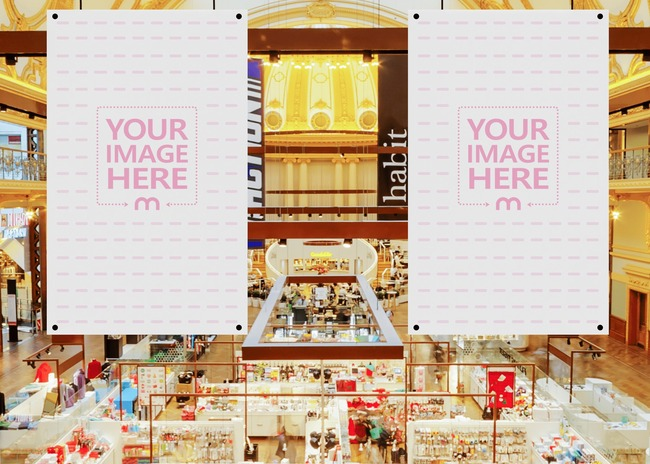 Two Banner Mockup in the Middle of a Mall