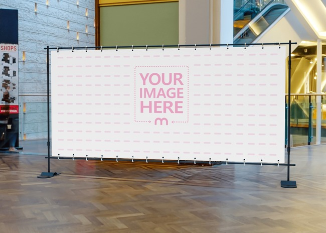 Mockup of a Horizontal Billboard in the Middle of a Floor in a Mall