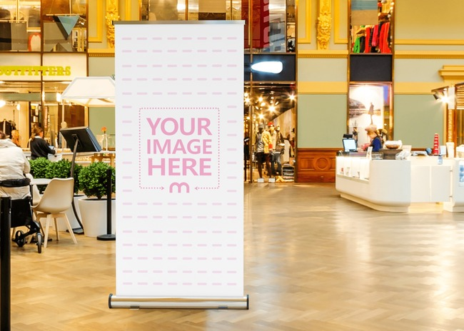 Vertical Banner Mockup Close by to a Store in a Mall