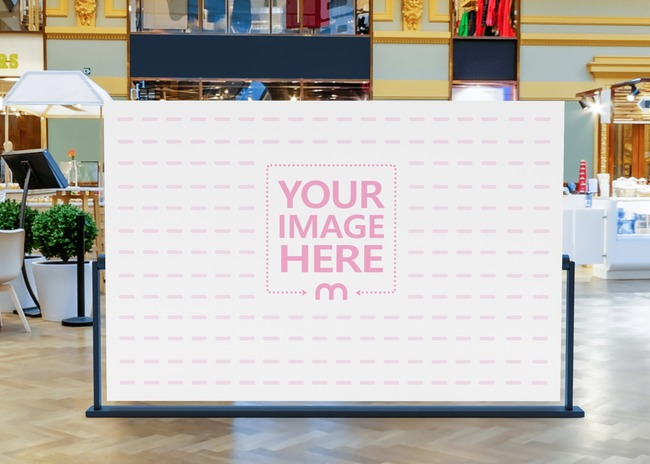 Big Horizontal Billboard Mockup With the Floor of a Mall Interior as the Background