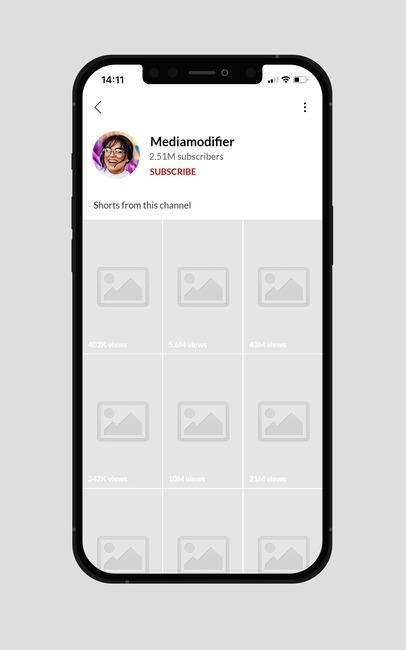 YouTube Shorts Profile Mockup on iPhone