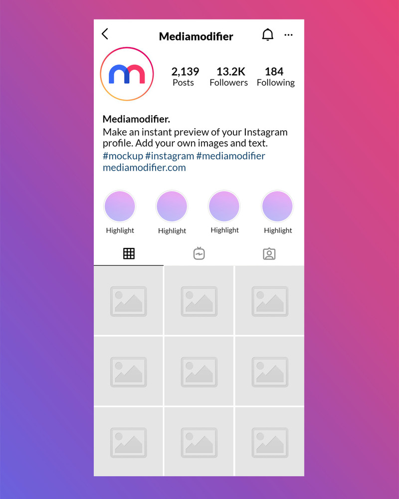 Instagram Profile Mockup with Highlights