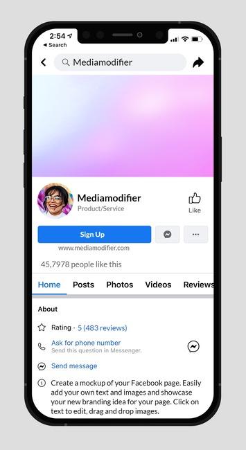 Facebook Page in iPhone Mockup Generator