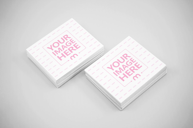 Double Business Card Stack on Clean Surface Mockup