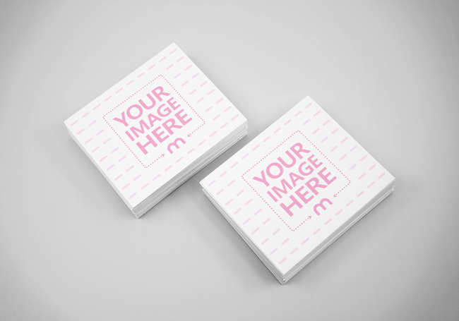 Business Card Stacks Top View Mockup