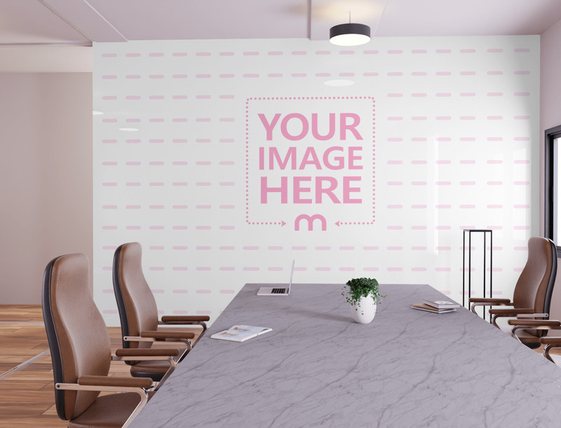 Art Print Wall Mockup Featuring a Meeting Table preview image