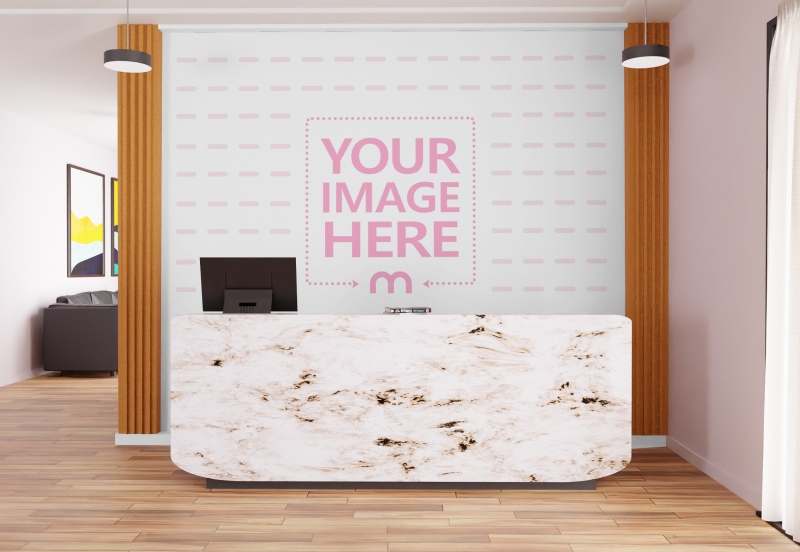 Art Print Mockup With a Customizable Wall on the Receptionist preview image