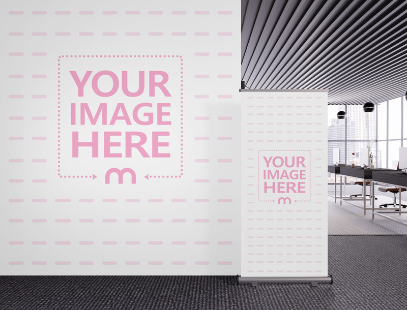 Mockup of a Customizable Banner and Wall Art at an Office