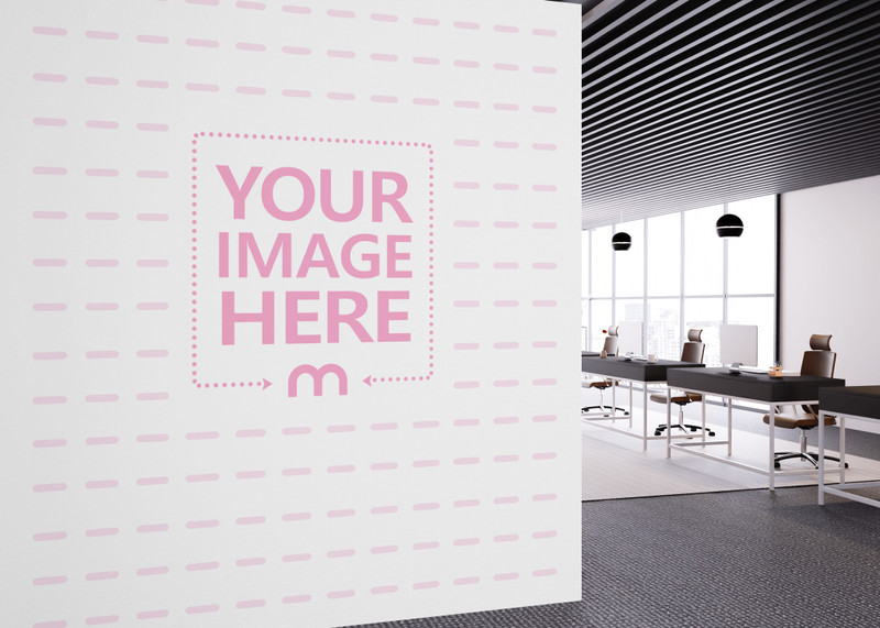 Side View of a Wall Art Mockup With A Room Showing an Urban Scenery preview image