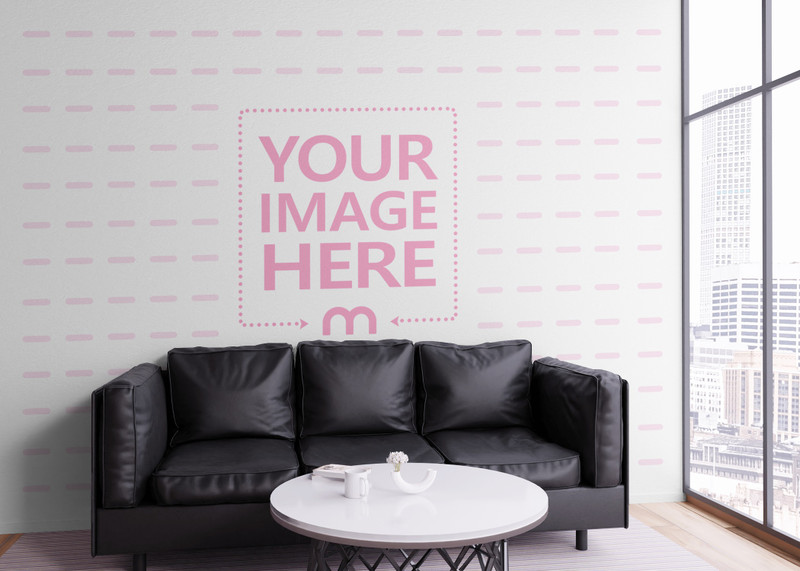 Mockup of an Art Wall Slightly Covered By Table and Sofa