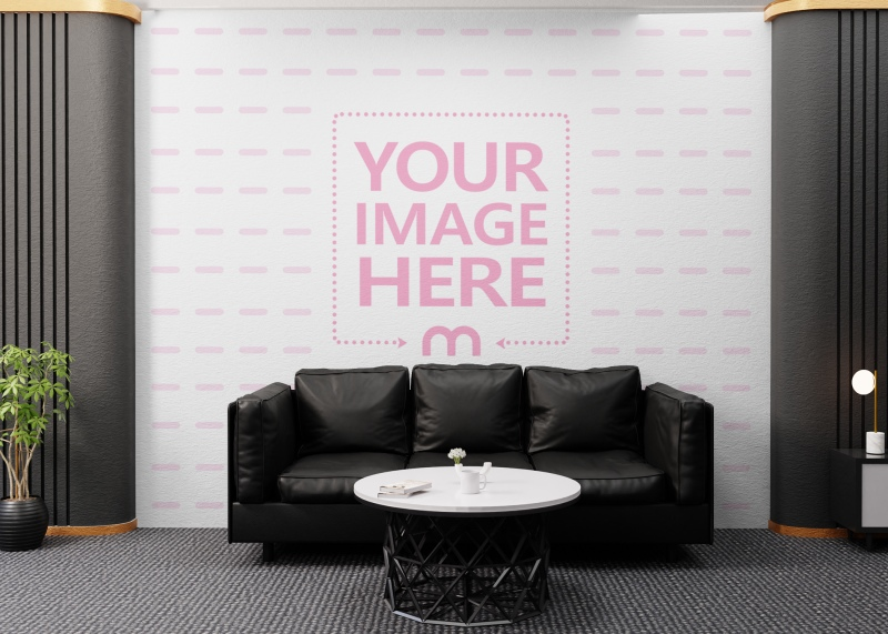 Wall Print Art Mockup in the Center of Scene at an Office Room