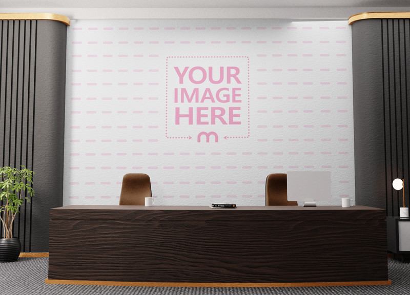 Art Print Mockup Featuring a Customizable Wall in Front of a Receptionist preview image