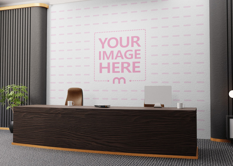 Mockup of a Wall at a Receptionist on the Side View preview image