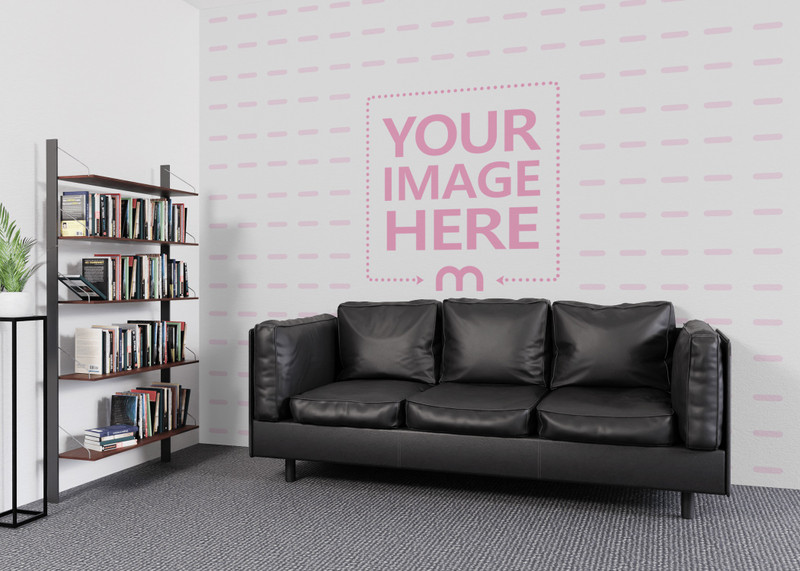Wall Print Art Mockup Close to a Rack With Books preview image